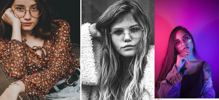 """Woman wearing fashionable glasses"""
