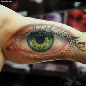 """Attractive Eye tattoo for men bicep"""