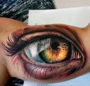 """Looking real eye tattoo for men inner bicep"""