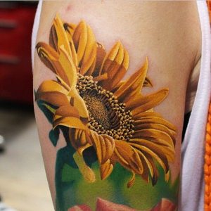 """Realistic Sunflower tattoo for men bicep"""