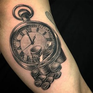 """Unique time is money tattoo for men with watch"""