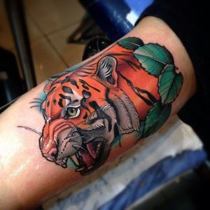 """Colorful Tiger tattoo for men bicep"""